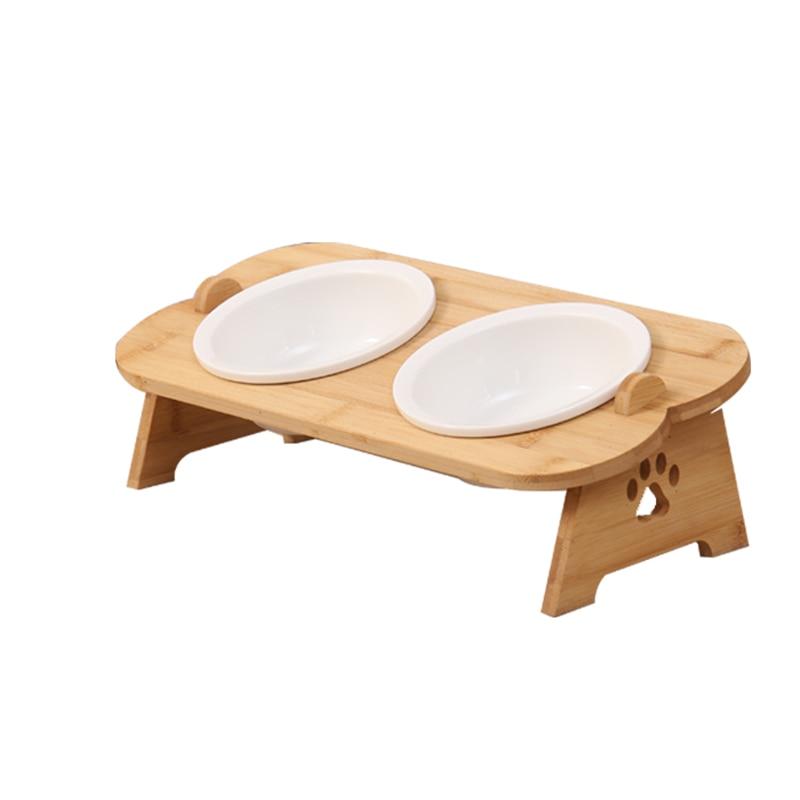 Tigelas gato cão alimentadores tigela cerâmica aço stainlerss alimentos para animais de estimação utensílios de mesa bacia de água bambu quadro pet suprimentos