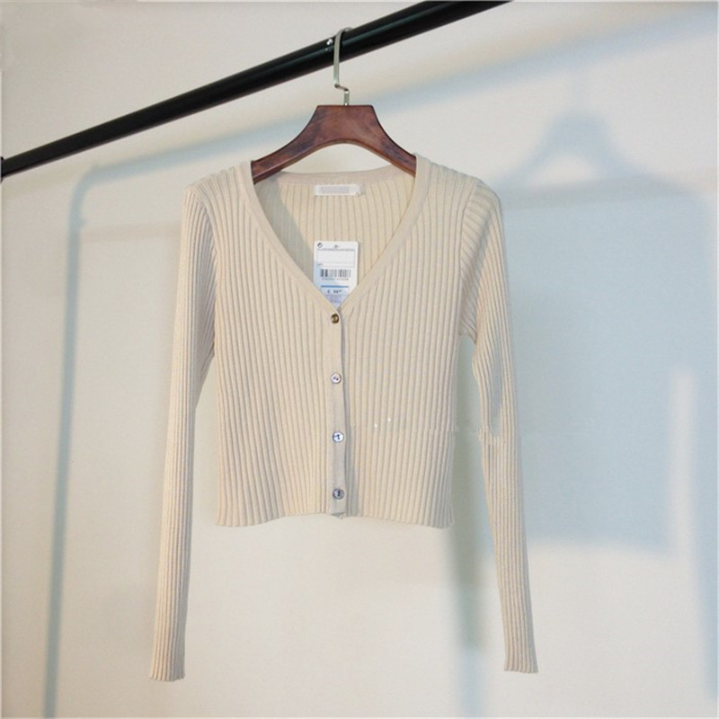 MATAKAWA Sexy Long Sleeve Buttons Women's Sweater Patchwork  2020 Fashion Ribbed  Slim Sweaters Ladies Knitted Cardigan 11