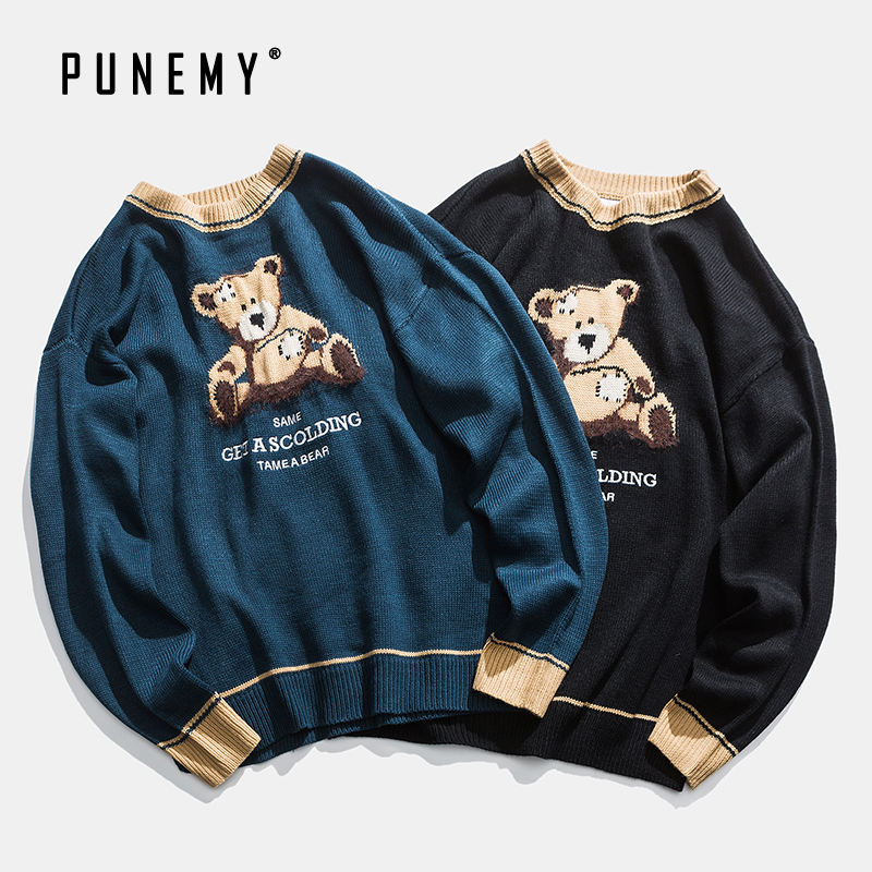 Retro Men Sweaters Retro Teddy Bear Pattern Acrylic Oversize Hip Hop Streetwear Harajuku Autumn New Pullover Men's Sweaters