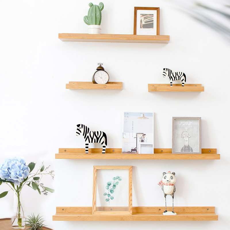 Nordic Style Wall-hung Type Wooden Decorative Wall Shelf Storage Rack Display Stand Clapboard DIY Solid Wood Holder Organizer