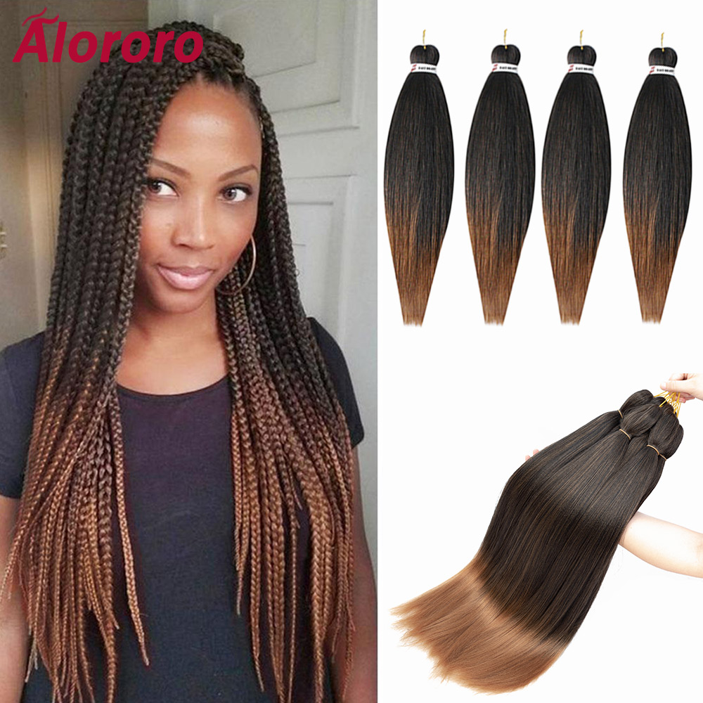 Alororo Pre stretched Ombre EZ Braiding Hair Synthetic Hair Extensions Professional Crochet Hair Hot Water Easy Braid