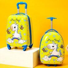 Мультфильм дети катание багаж тележка чемодан дети путешествия чемодан на колесах 16% 2F18 дюймов спиннер ручная кладь мальчики девочки на колесиках сумка