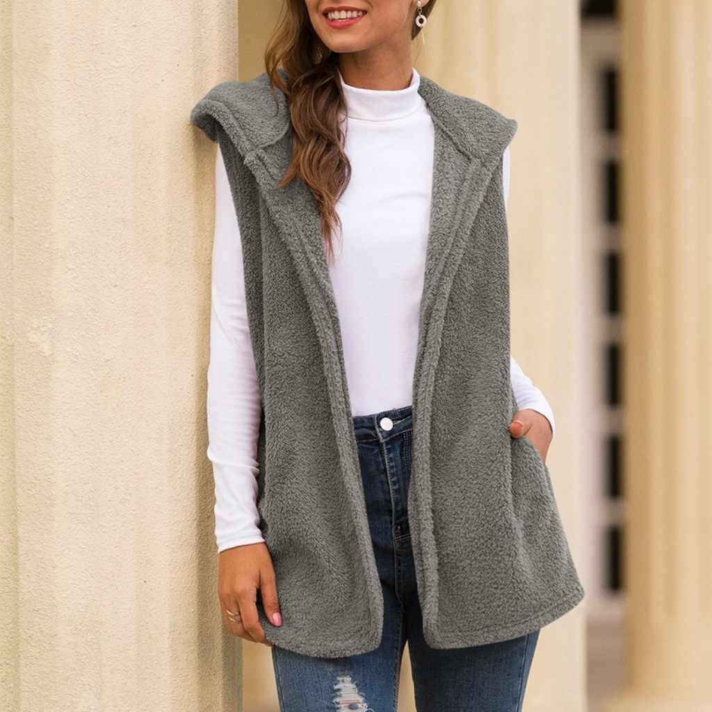 Fluffly 빈티지 플러시 후드 wastcoat 조끼 코트 민소매 따뜻한 카디건 outwear 테디 아늑한 재킷 패션 여성 가을 겨울