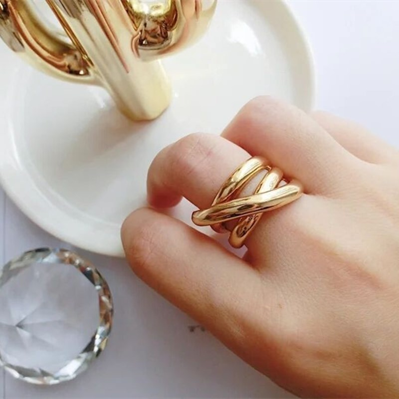 New Korean Geometric Simple Multi-layer Hollow Cross Gold Shining Opening Metal Rings For Women Girls Gifts Party
