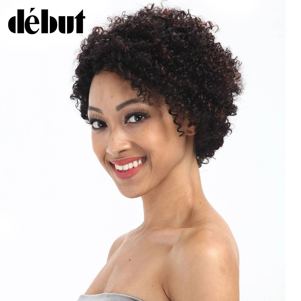Debut Afro Kinky Curly Colored Human Hair Wigs For Women Cheap Brazilian Short Bob Remy Human Hair Wigs Free Shipping
