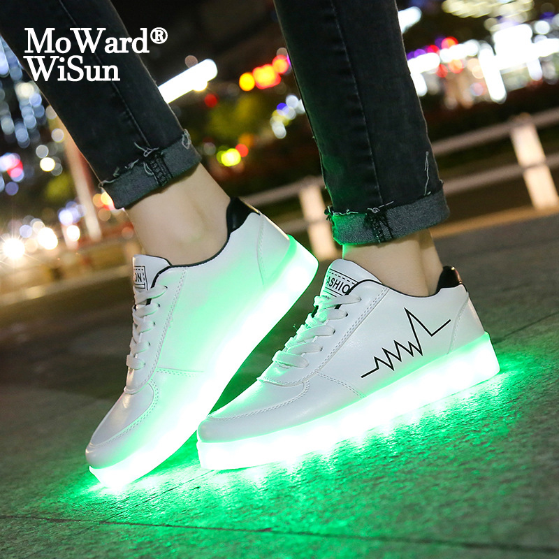 Size 30 44 Children Casual Shoes With Lights USB Charge Luminous Sneakers for Kids Boys Glowing Led Shoes Girls Lighted Shoes|Sneakers| |  - title=