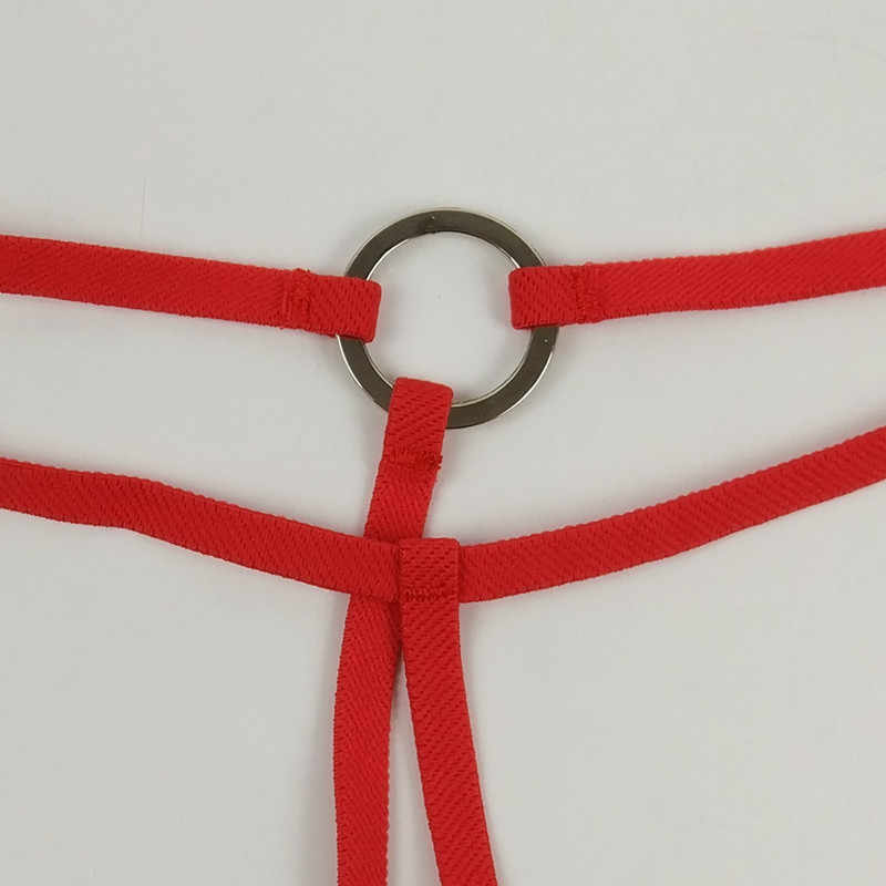 Öffnen Gabelung Ring Mini Micro Bikini Set Top Thong G String Low Rise Frauen Sexy Exotische Badeanzug Sonnenbad dessous