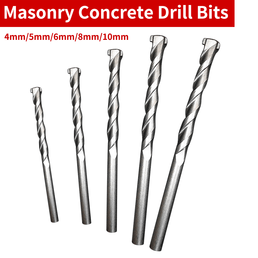 Masonry Drill Bit 4mm/5mm/6mm/8mm/10mm Rotary Tool Galvanized Drill Round Shank Spiral Flute For Drilling Concrete Brick Tile