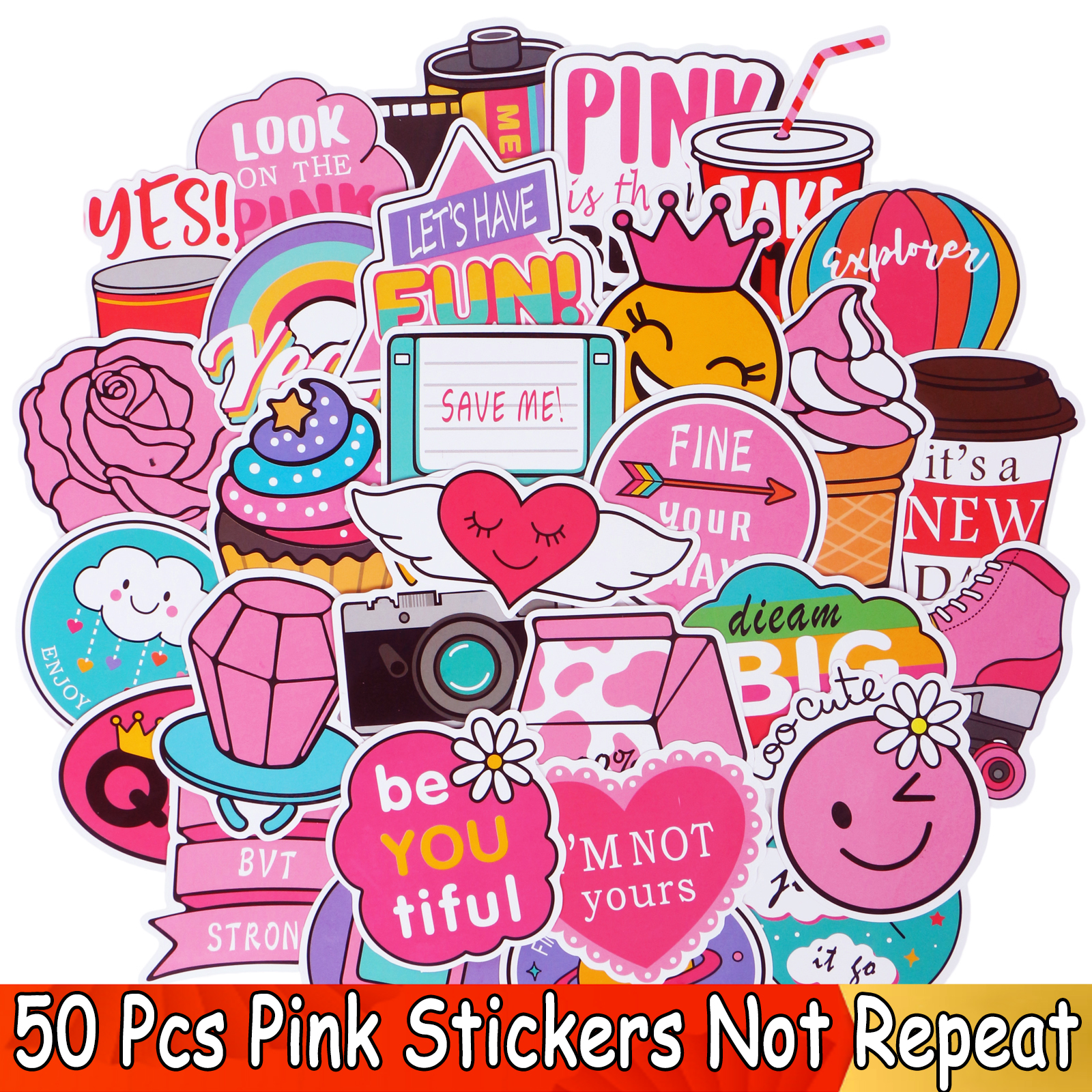 50 PCS Pink Color Stickers Cartoon Funny JDM DIY Laptop Decals Kid's Skateboard Luggage Motor Bicycle Toy Car Waterproof Sticker