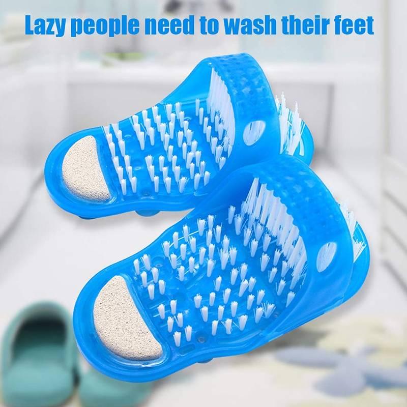 Pantoufles de brosse d'artefact de lavage de pied hommes et femmes lame de douche de salle de bains paresseuse pour le massage de peau morte
