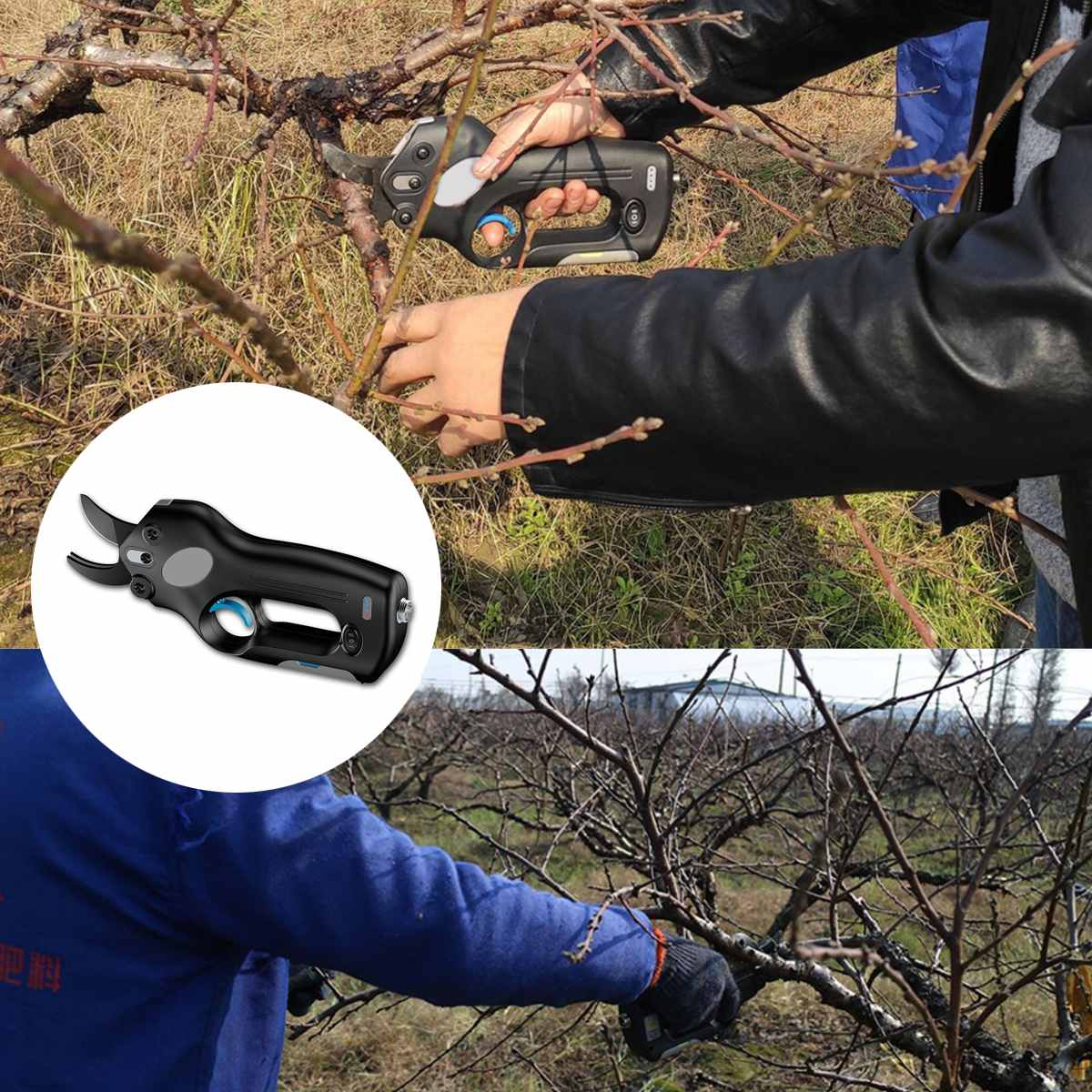 12V Wireless Electric Rechargeable Garden Scissors for Pruning Branches and stems with 4 Li-ion Battery 2