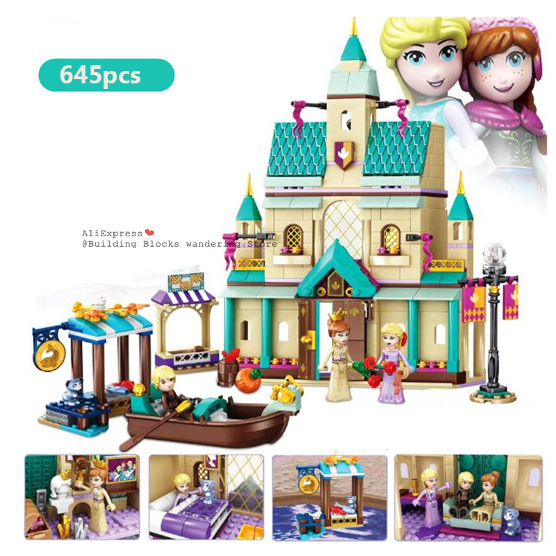 NEW 731pcs Snow Queen Anna Elsa Magical Ice Castle Set Building Blocks Bricks Toys Girl Lepining Friends Block