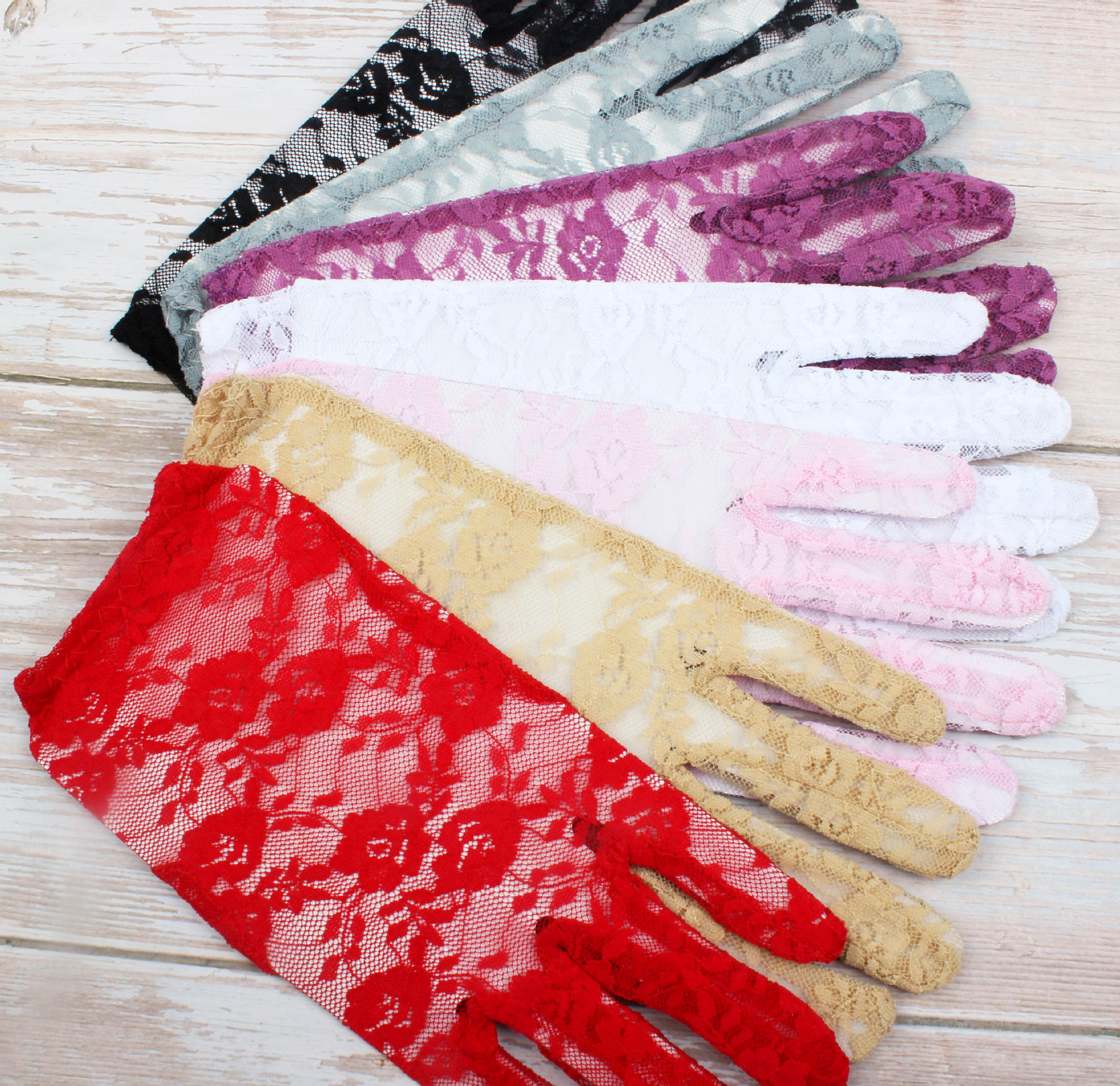 7 Colors Wedding Gloves Short White Lace Sheer Tulle Finger Gloves Accesories Bride Red Lace Wedding  Accessories Ivory Sheer