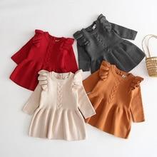 Baby Girl Autumn Winter Knit Dress New Fashion Baby Toddlers Children Kids Ruffled Long Sleeve Warm Sweater Dress Roupa Infant