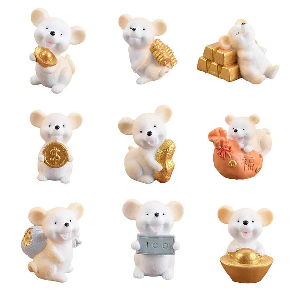 1/4/9pcs Resin Money Coin Lucky Rat Animal Figurines Miniatures Statue DIY Home Decoration Crafts Garden Desktop  Home Decor