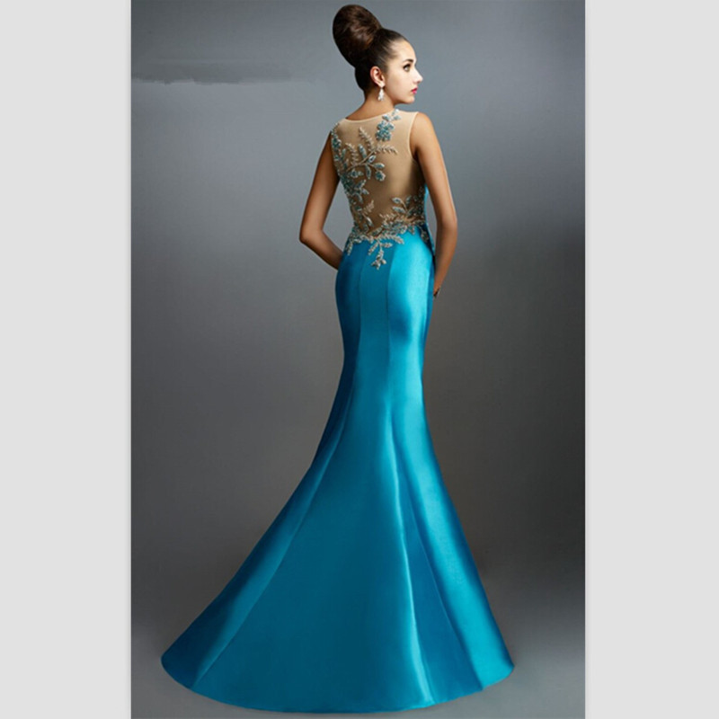 2018 Arrival Blue Satin Mermaid Long Evening gown Crystal Sweep Train Party Elegant Custom Prom Off The Shoulder Mother Of Th