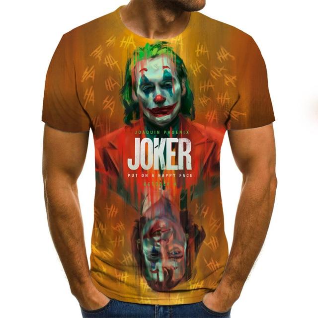 2019 new men t shirt Sketch the clown 3D Printed T Shirt Men Joker Face Casual O-neck Male tshirt Clown Short Sleeved joke tops 4