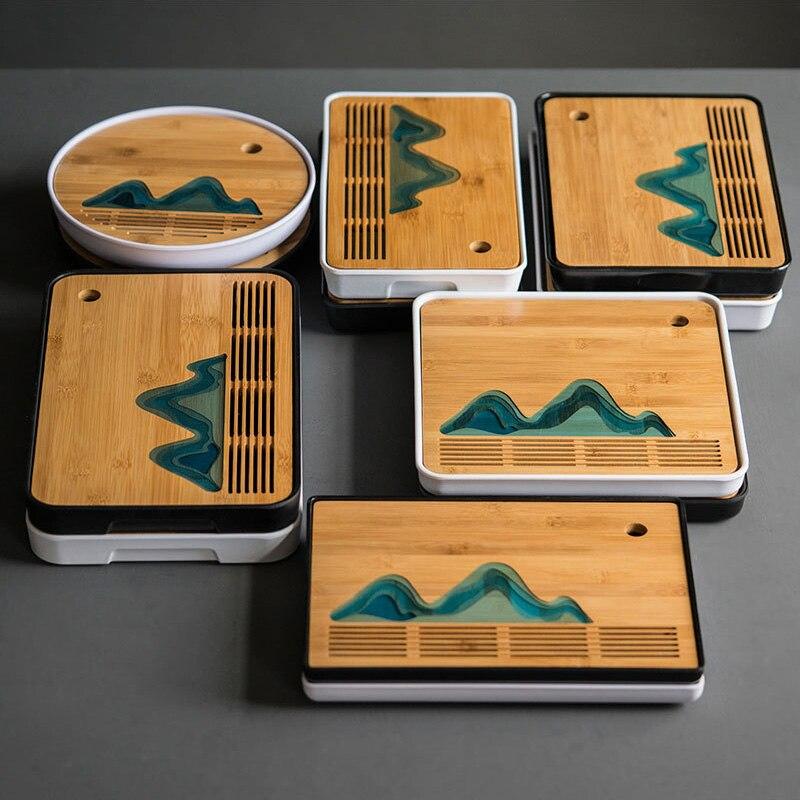 Chinese Landscape Travel Tea Tray,bamboo Portable Tea Tray,Drainage Water Storage Kung Fu Tea Set Drawer Tea Room Board Table