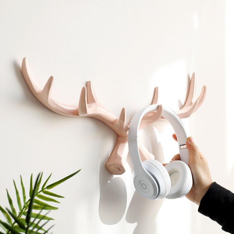 Resin Deer Horn Nordic Wall Hook Hanger For Keys Holder Rack Bag Clothes Hat Coat    Home Decorative Hooks