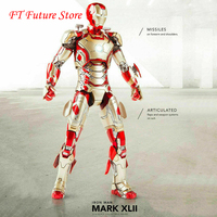 In Stock 1/12 Scale Comicave Iron Man MK42 Action Figure Set LED 6 Alloy Movable Doll Model for Fans Gifts