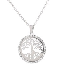 Hollow Tree Necklace For Women Jewelry Silver Alloy Chain Round Family Life Tree Pendant Necklace round owl pendant necklace for women tree life crystal necklace gold silver rhionstone jewelry female animal collar 2019 fashion