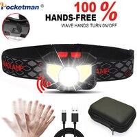 Poderoso hands-free led farol sensor de movimento cabeça lâmpada led farol tocha embutida bateria indutiva com caixa portátil