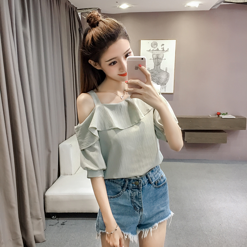 New Spring Fashion Sexy Style Solid Women Shirts Women Tops Short Sleeved Blouses Ruffles Casual Women Clothing D546 30 4