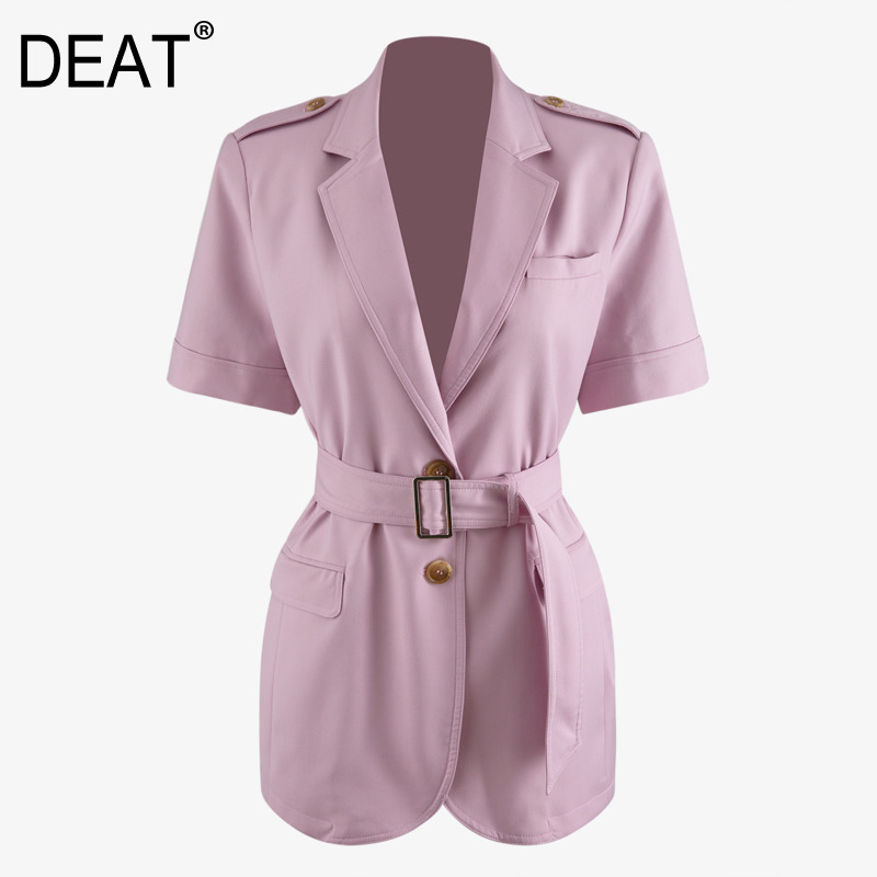DEAT 2020 Turn-down Collar Short Sleeves Jacket Single Breasted Waist Belt And Short Hots Pleated Loose Set WM20411