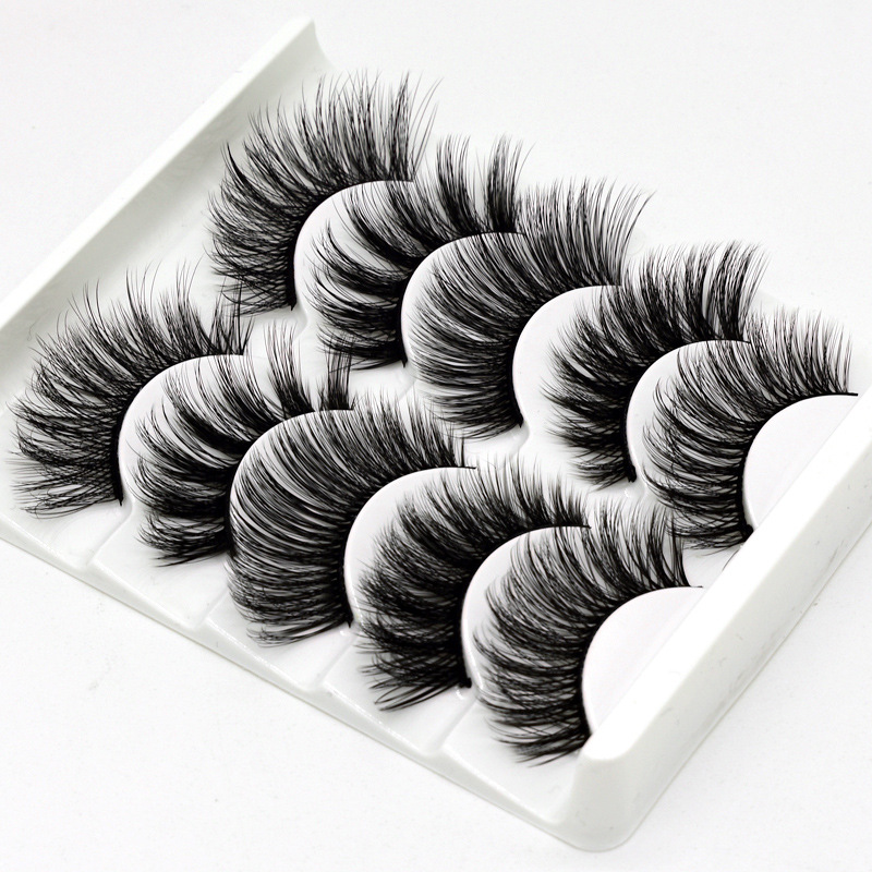 5Pairs 3D Faux Mink Hair False Eyelashes Natural/Thick Long Eye Lashes Wispy Makeup Beauty Extension Tools
