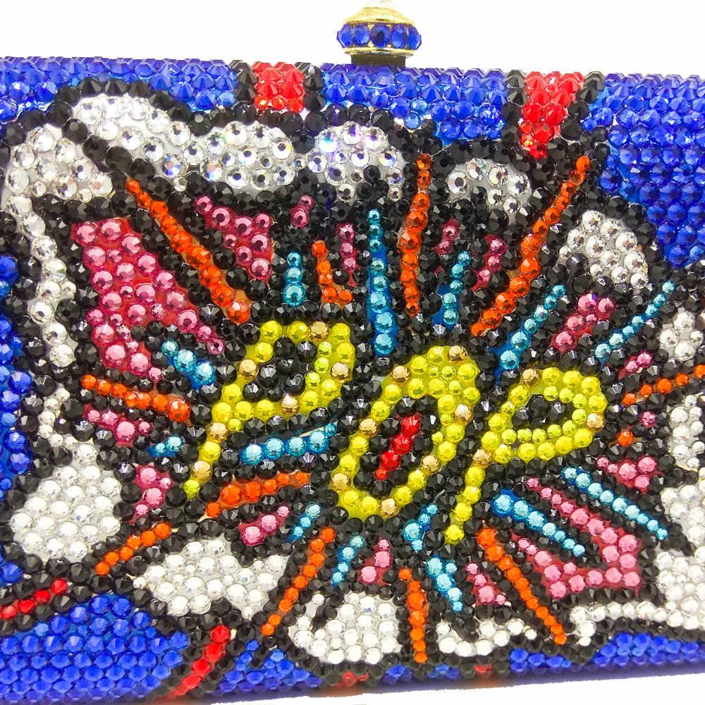 Butik Fgg Fashion Graffiti Pop Huruf Pola Wanita Crystal Evening Bags Biru Logam Clutches Pernikahan Dompet Tas Tangan