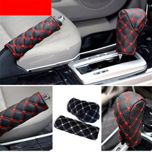 Cover-Sleeve Gear-Shift-Knob-Cover Hand-Brake Faux-Leather Car 2-In-1set Professional