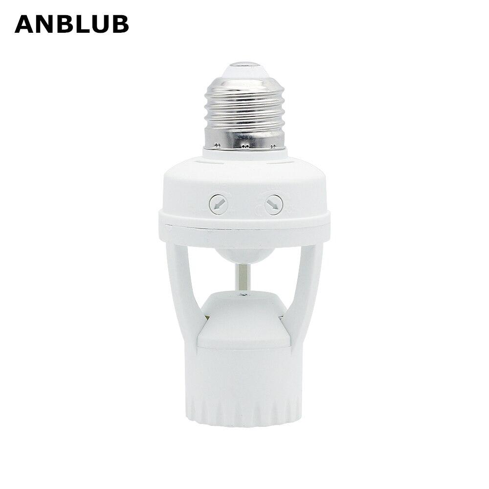 ANBLUB E27 Socket PIR Motion Sensor Lamp Holder Light Control Infrared Sensor Lamp Base Fitting 220V For LED Light Bulb Ampoule
