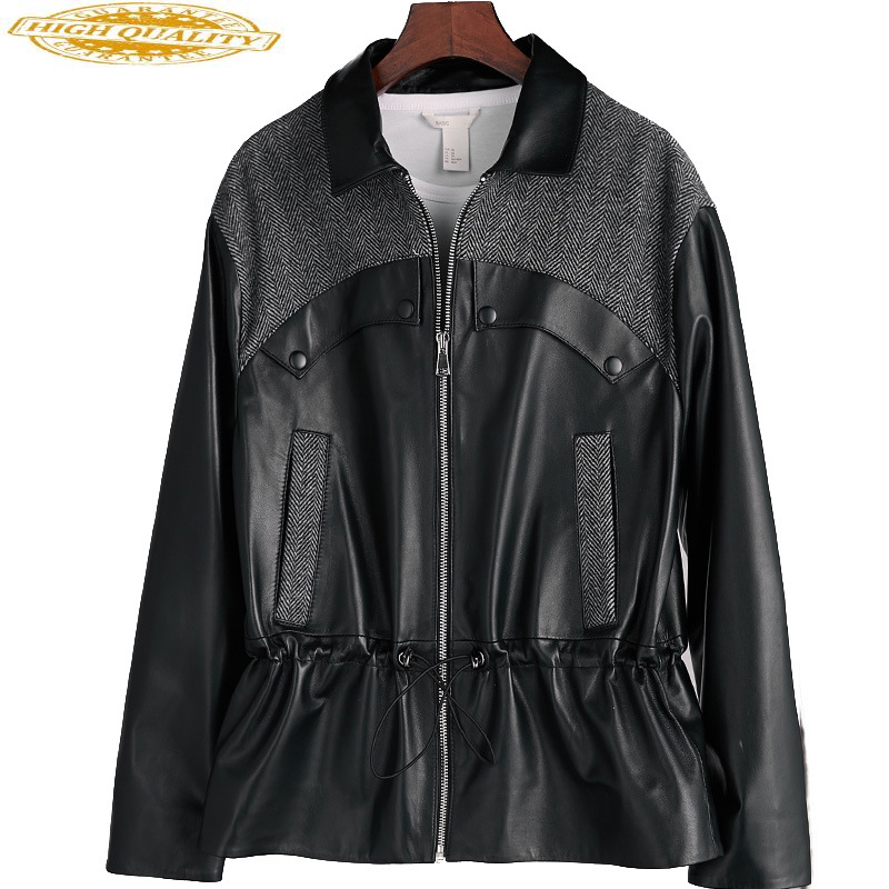 Wool Sheepskin Coat Real Genuine Leather Jacket Women Clothes 2020 Spring Autumn Tops Korean Elegant Outwear Black Coats ZT2279