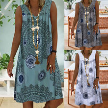 Large Size Women's Summer New Lace Stitching Printing Deep V-neck Sleeveless Dress