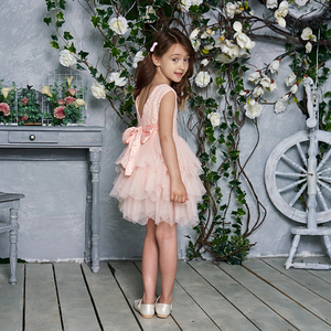 Image 5 - فستان جديد 2020 للفتيات من التول والدانتيل فساتين الأميرة للأطفال فستان حفلات الزفاف للبنات مع وشاح ملابس الطفل 1 6y E1953
