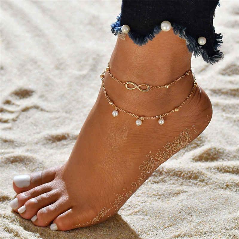 2PCS Retro Pearl Heart Infinity สร้อยข้อเท้าสร้อยข้อเท้าชุดโบฮีเมียเงินเท้าชายหาด Anklets ผู้หญิงแฟชั่น Barefoot CHAIN เครื่องประดับ