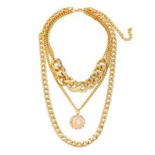 Women Simple Multi-layer Necklace Embossed Pendant Alloy Sweater Chain Jewelry Accessories
