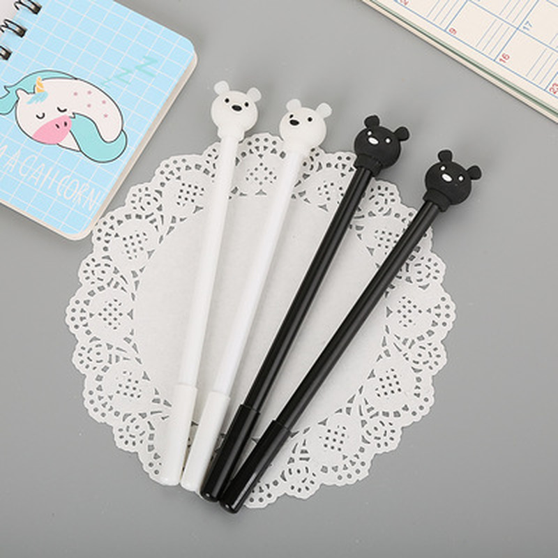 1pcs Black And White Bear Gel Pen 0.5mm Cute Pens Student Cute Gel Pen Novelty Stationery Writing Pens Kawaii School Supplies
