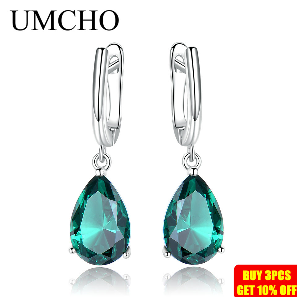UMCHO Created Green Emerald Gemstone Clip Earrings for Women Solid 925 Sterling Silver Anniversary Wedding Party UMCHO Created Green Emerald Gemstone Clip Earrings for Women Solid 925 Sterling Silver Anniversary Wedding Party Gifts Jewelry