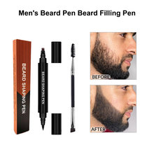 Beard Filling Pen Kit Two-in-one Four-pronged Tip Men's Beard Pen Beard Filling Styling Pen Hair Engraving Mustache Repair Shape