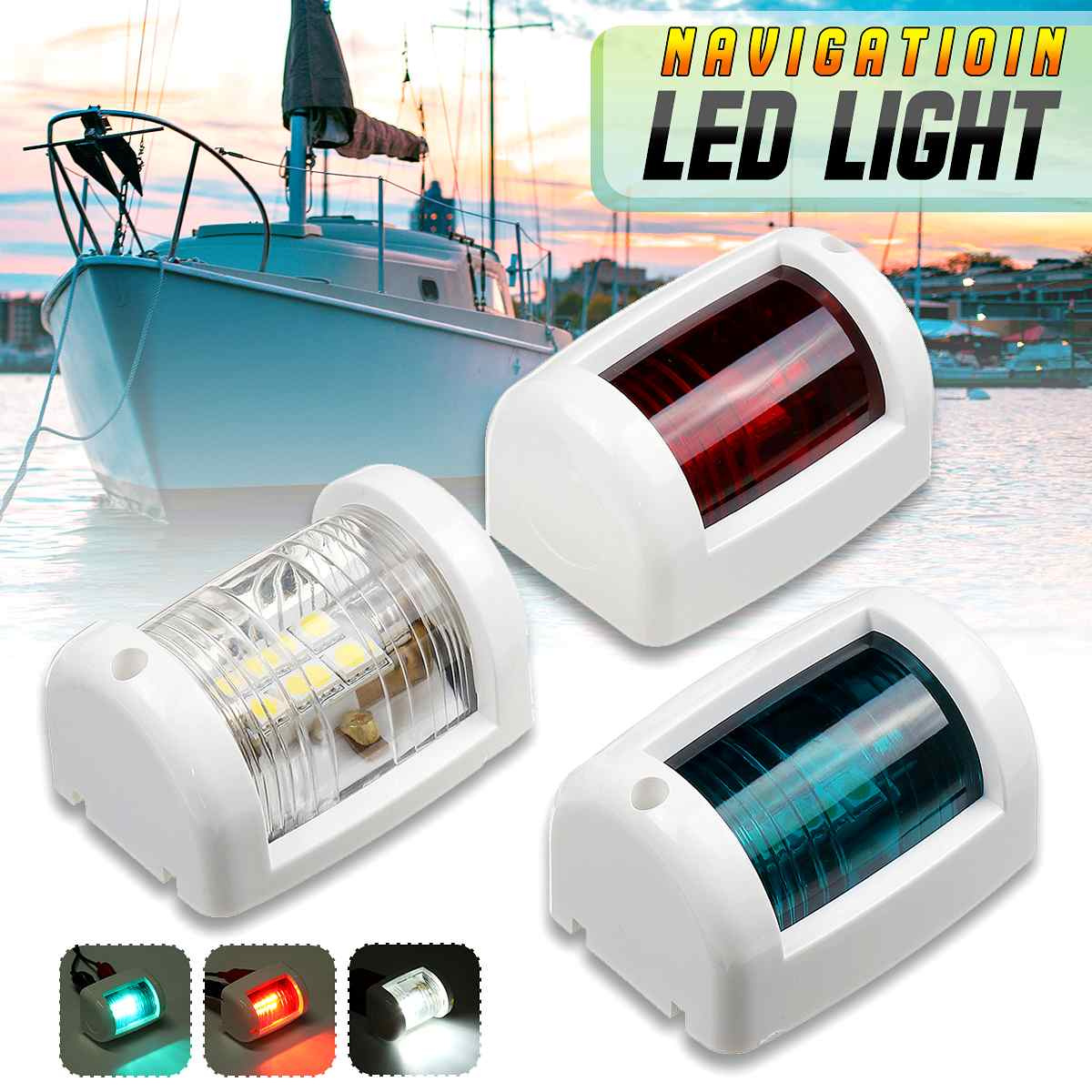 1pcs /1 Set 12V Mini LED Navigation Light Lamp LED Signal Lamp For Marine Boat Yacht Masthead Starboard Port New Arrival 2019