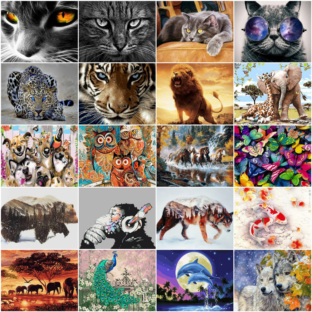 HUACAN Animals Painting By Numbers For Adults Paints By Number Canvas Painting Kits Pictures DIY Gift Home Decoration Gift