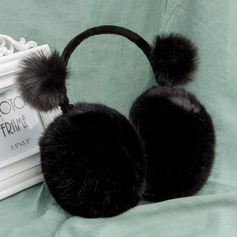 Black Winter Accessories For Women Ear Muffs Cute Kids Fur Earmuffs Girls Pompom Ear Warmer Ear Muff Ear Antifreeze Protection