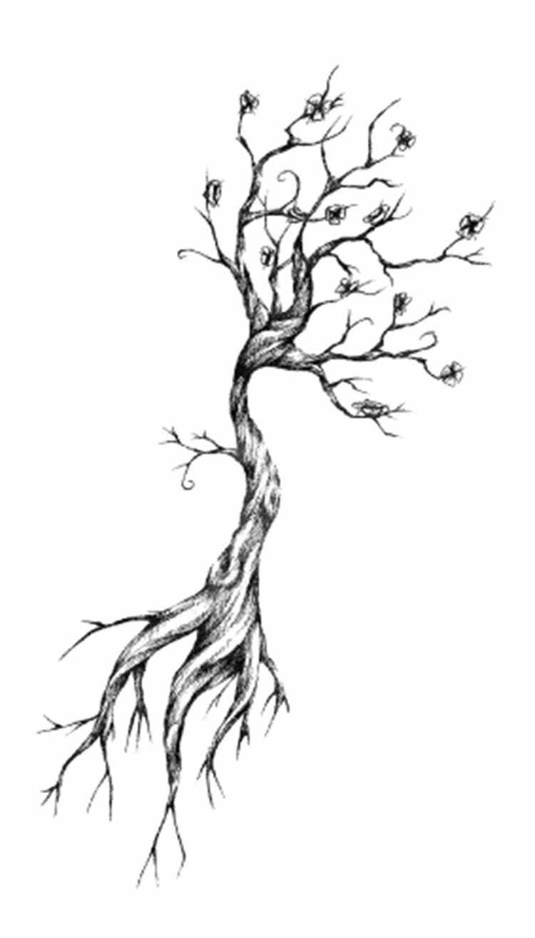 Tato Stiker Body Art Hitam Putih Gambar Kecil Elemen Kering Cabang Pohon Air Transfer Sementara Palsu Tatto Flash Tato