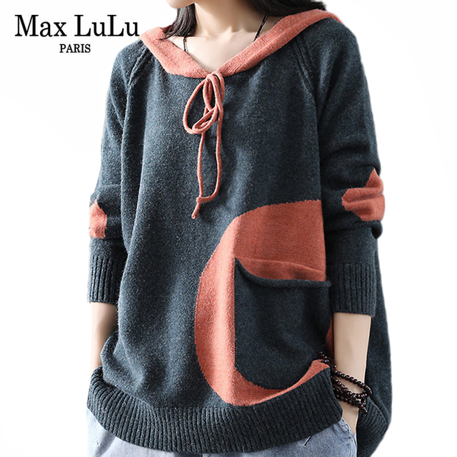 Max LuLu Winter Korean Fashion Fitness Jumper Ladies Thicken Punk Clothes Womens Hooded Cotton Knitted Sweater Vintage Pullovers