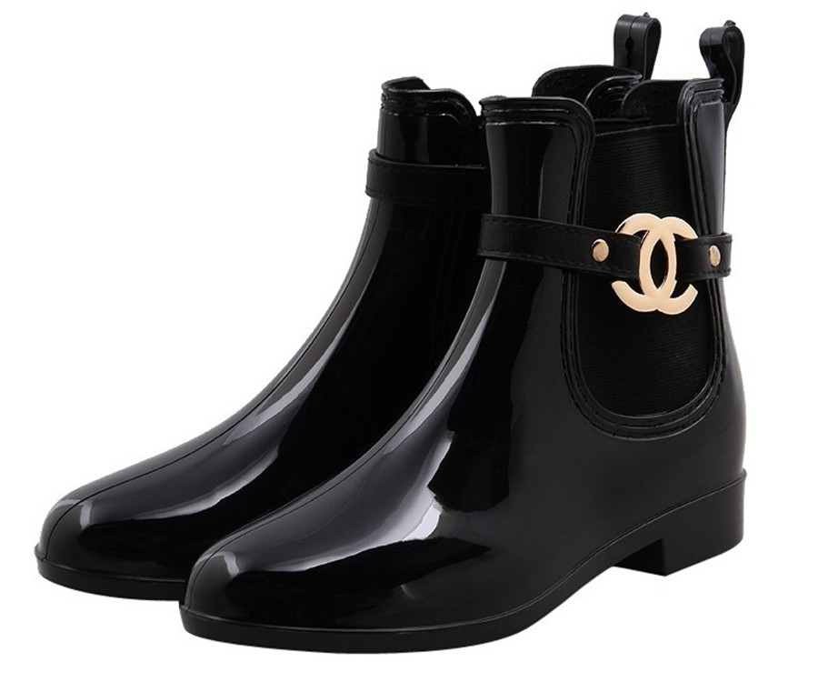 Fashion Waterproof Rainboots High Quality PVC Rubber Shoes Women Rain Boots Black Short Ankle Boots For Ladies Girl Woman Winter