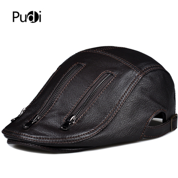 Pudi man real leather cap hat winter genuine leather beret golf hats fishing hunting caps HL821 svadilfari classic beret caps men warm genuine leather caps ivy windproof duckbill hat burgundy winter luxury brand flat hats