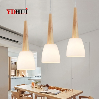 Japanese solid wood chandelier modern simple creative personality living room bar dining room chandelier Chinese three-headed LE