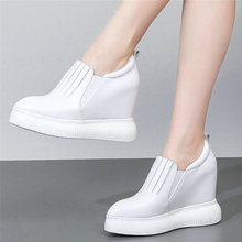 Vulcanized Shoes Womens Genuine Leather Wedges Platform High Heel Oxfords Pointed Toe Walking Loafers Low Top Tennis