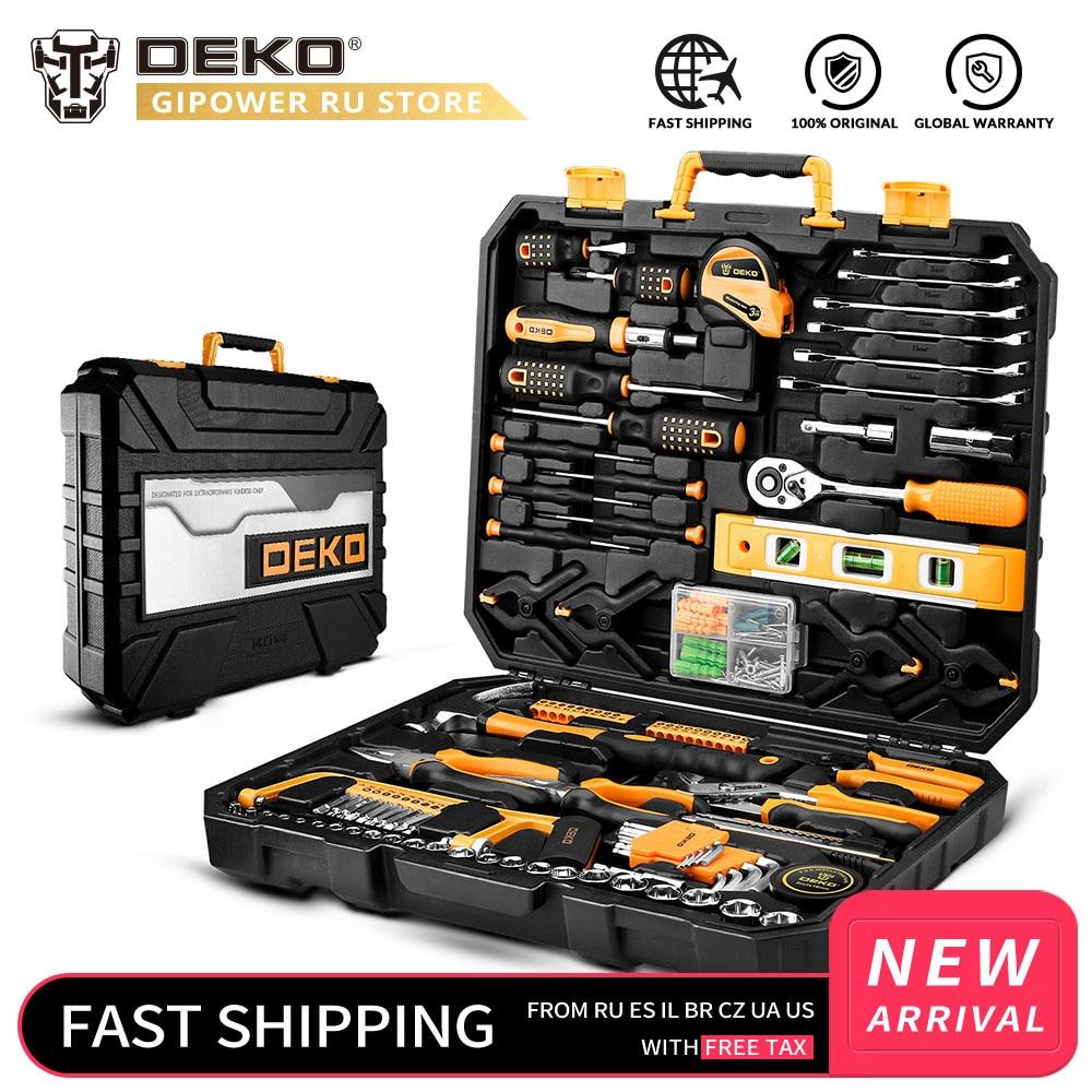 DEKO مجموعة الأدوات المنزلية العامة مجموعة أدوات يدوية مع صندوق الأدوات البلاستيكية حقيبة للتخزين مزيج مطرقة مفتاح بانة مفك البراغي